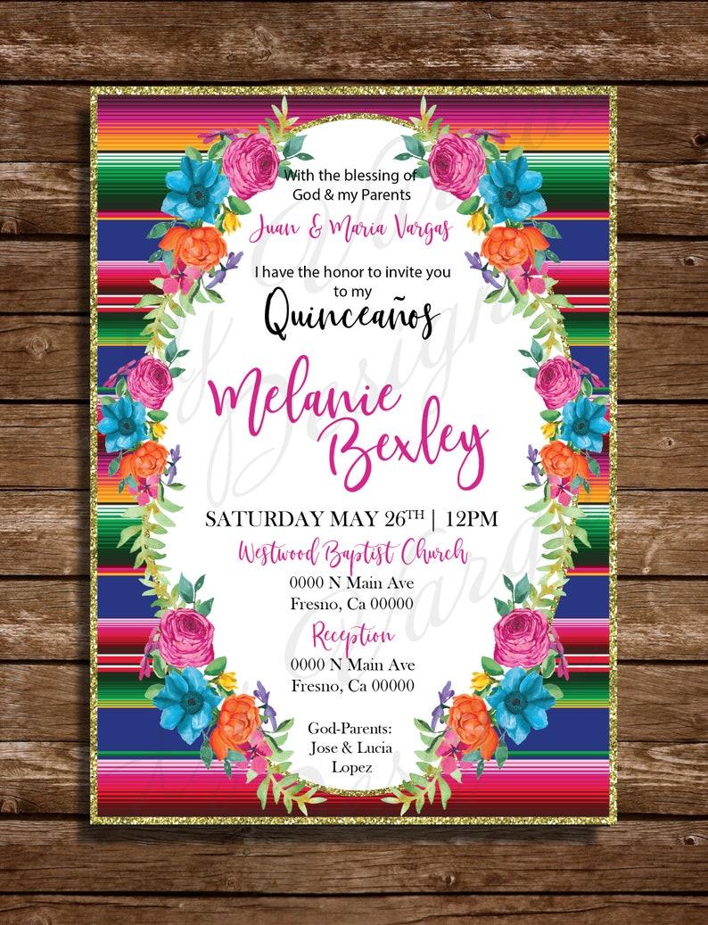 75b847bf5273f Invitavion de Quiceaños Tema Mexicano Invitacion Imprimible