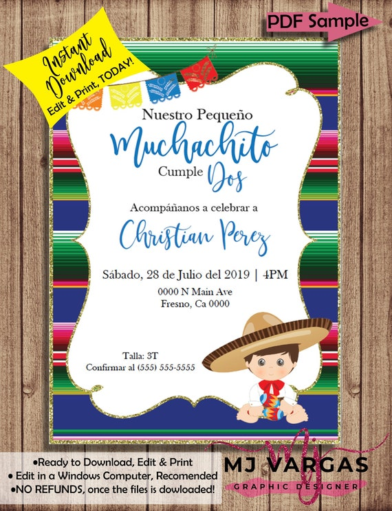 Boy Birthday Fiesta Theme Invite Our Little Muchachito