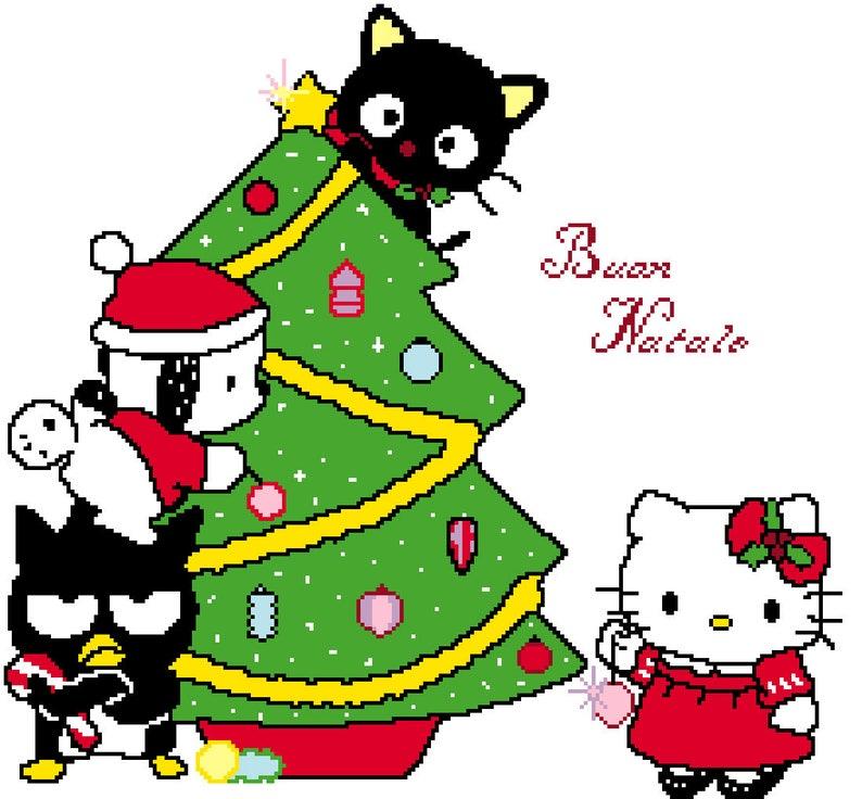 Hello Kitty Christmas Tree.Cross Stitch Pattern Hello Kitty Christmas Tree Scenery Patterns Pdf Files Dmc Colors Coloured Symbols