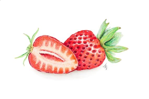 Erdbeere Erdbeere Kunstdruck realistische Kunst Berry