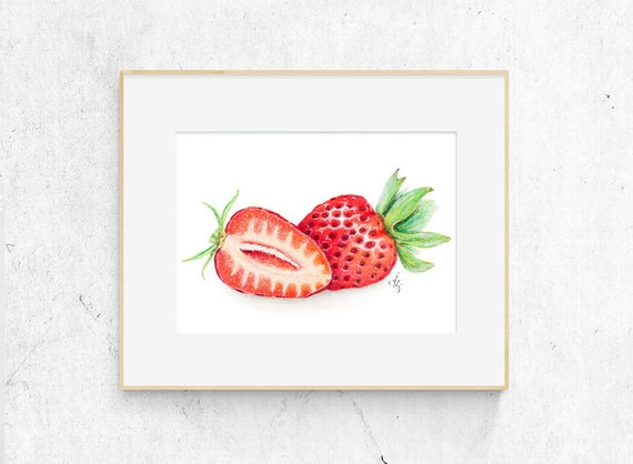 C Strawberry In Hand Art Print Home Decor Wall Art Poster