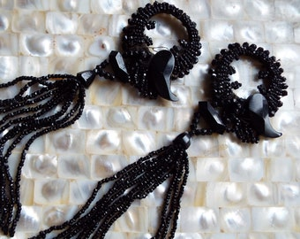 Pair of Antique Victorian French Jet Beaded Embellishment