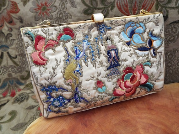Vintage Chinese Embroidered Purse~1950s Chinese Em