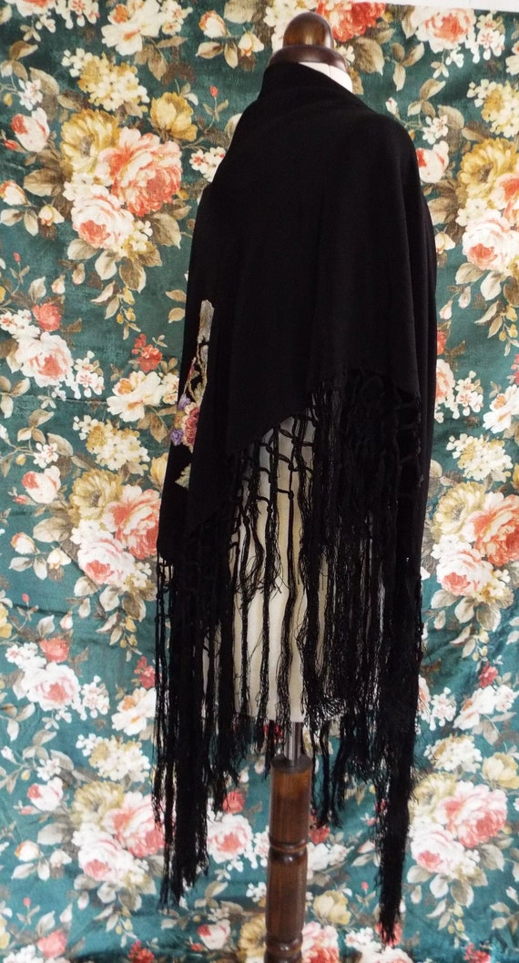 Antique Embroidered Shawl~Victorian  Embroidered,… - image 4