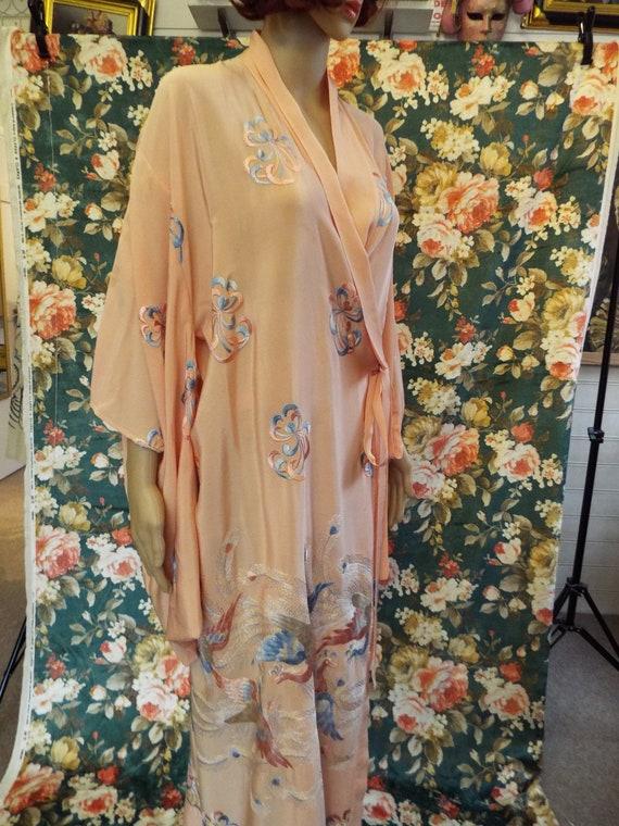 Vintage Embroidered Crepe Kimono~1930s Embroidere… - image 2