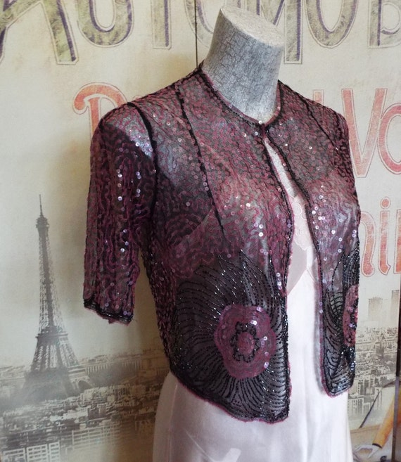 Vintage 1920s Sequin Bolero Jacket~Art Deco Sequin