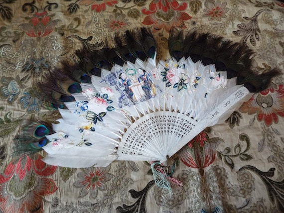 Antique Painted Feather Fan~1800s Painted Feather