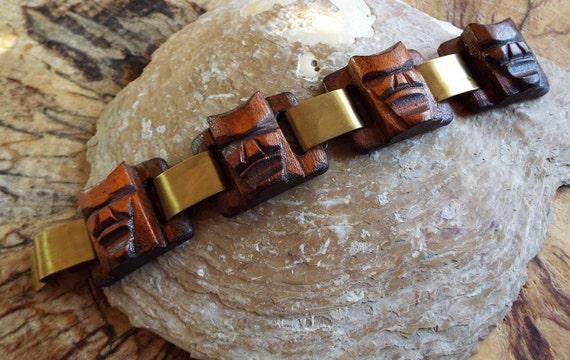 Vintage Tiki Panel Bracelet~1940s Rosewood Tiki Pa