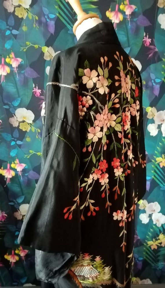 Antique Embroidered Silk Kimono-1920s, 1930s Japan
