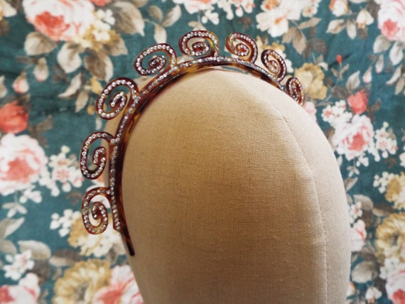 Vintage French Celluloid Tiara~1940s Torty Cellulo