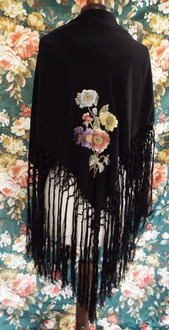Antique Embroidered Shawl~Victorian  Embroidered,… - image 2