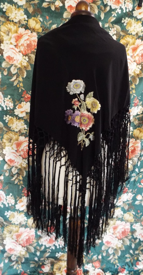 Antique Embroidered Shawl~Victorian  Embroidered,… - image 3