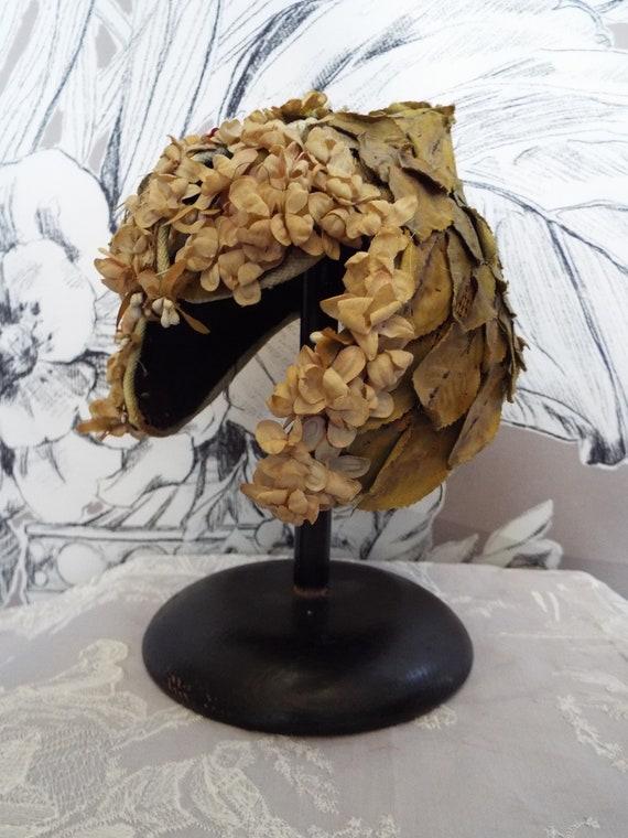Antique Floral Pixie Hat~1920s/30s Structured Flor