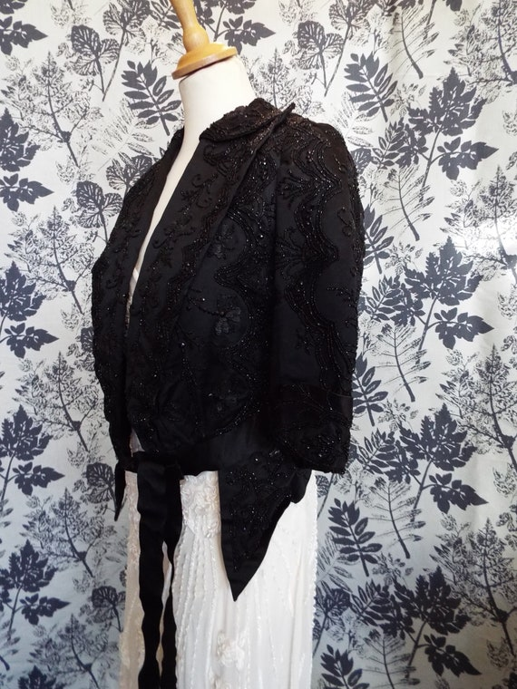 Antique Victorian Satin Beaded Jacket~1800s Black