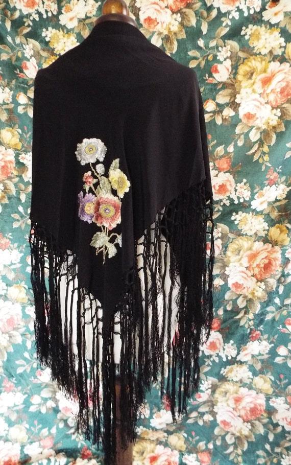 Antique Embroidered Shawl~Victorian  Embroidered,