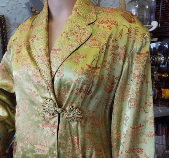 Vintage 1930s Housecoat~Chinese Silk Housecoat~Art