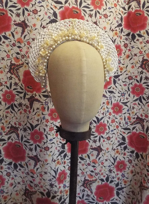 Vintage Wax Flower and Pearl Tiara~1940s Halo Brid