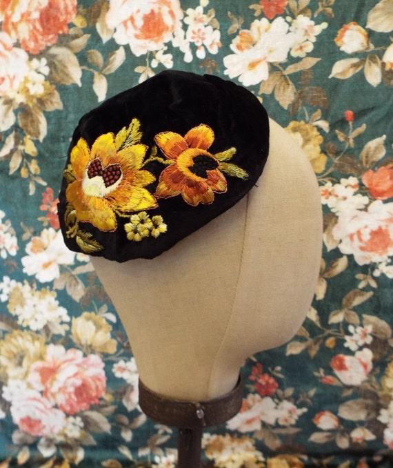 Vintage Silk Velvet Half Hat~Art Deco Silk Velvet