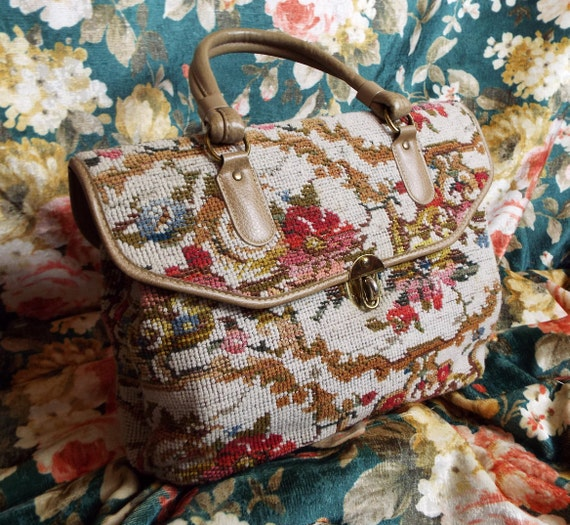 Vintage Tapestry Bag~1970s Carpet Bag~1970s Tapest