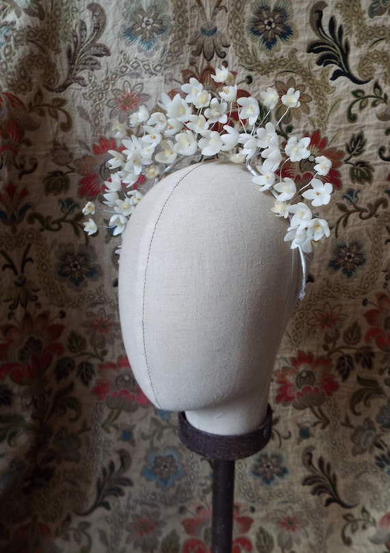 Vintage Wax Flower Tiara~1930s Wax Flower Tiara~19