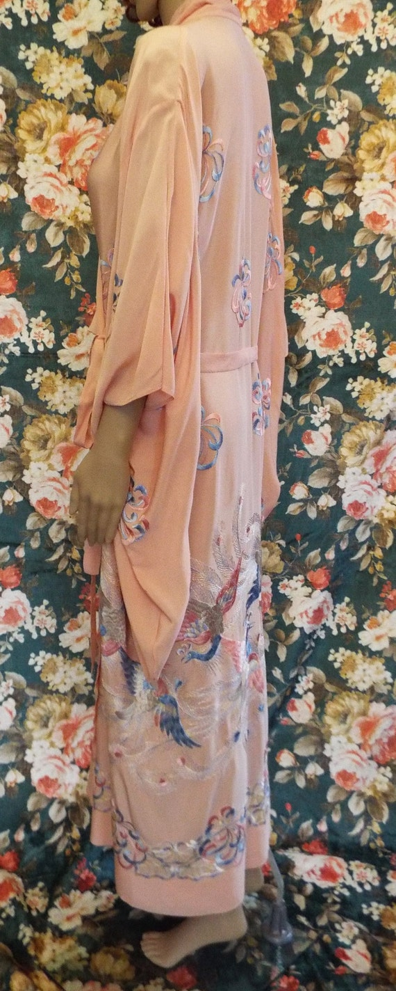 Vintage Embroidered Crepe Kimono~1930s Embroidere… - image 10