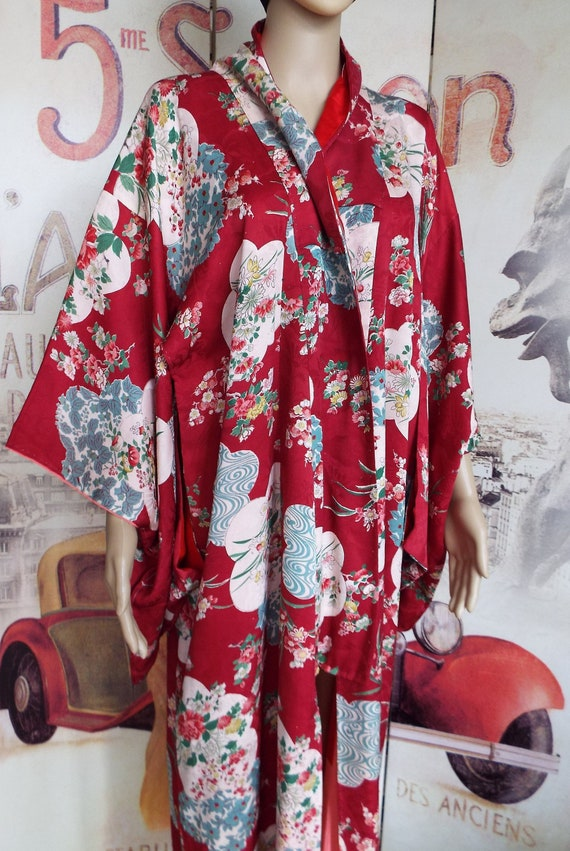 Vintage Silk Kimono~1930s Silk Kimono~Art Deco Sil