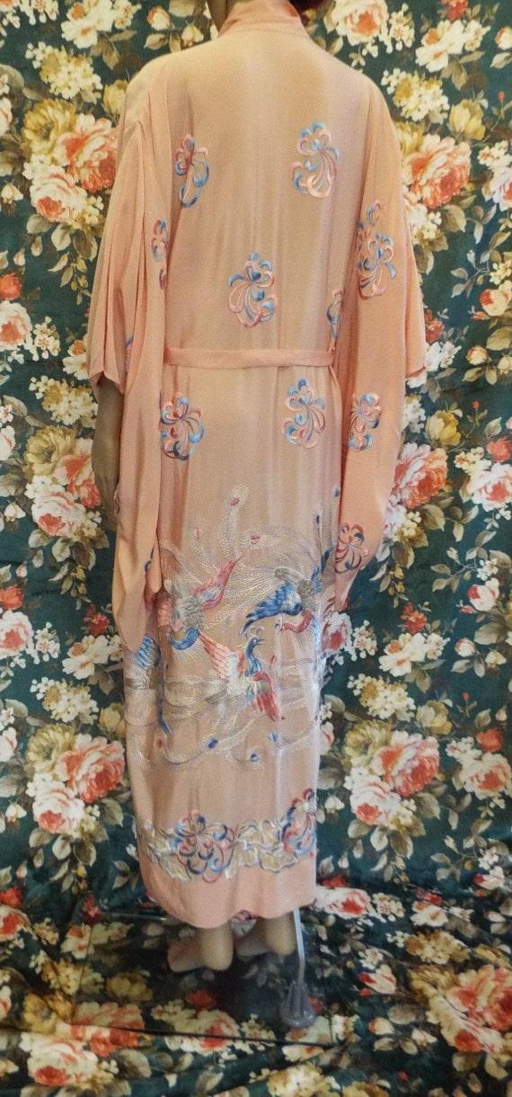 Vintage Embroidered Crepe Kimono~1930s Embroidere… - image 7
