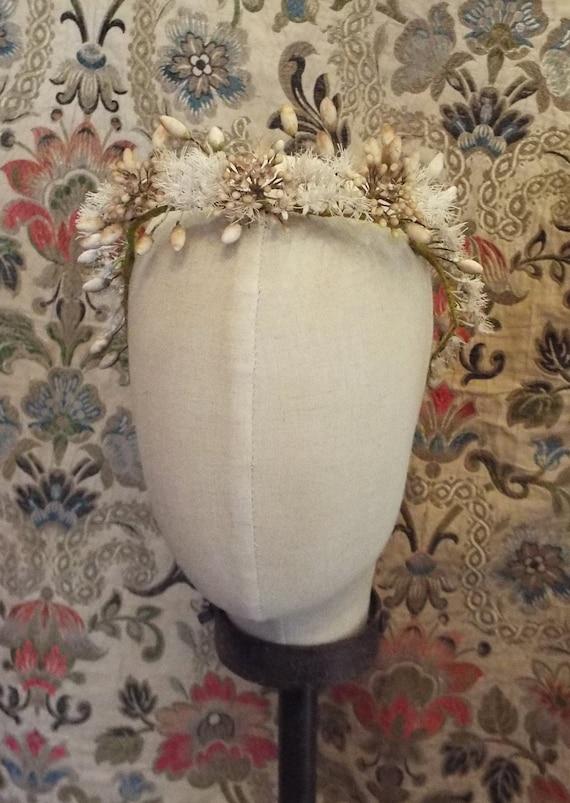 Antique Wax Flower Bridal Tiara~1800s French Wax F