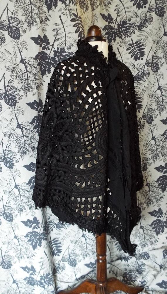 Antique 1800s CutWork Silk Cape~Victorian Silk Mou