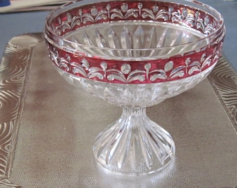 Crystal With Red Trim Footed Compote