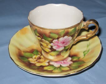 HP Demi Cup & Saucer Pink Yellow Rose