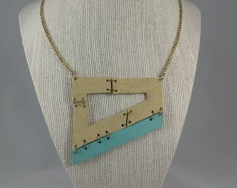 Leather/Jewelry/Necklace/Geometric/Boho/Chic/Handmade/Unique/Statement Necklace/Gifts for Her/Women/Style/Fashion/Tan/Teal/Ready to Ship