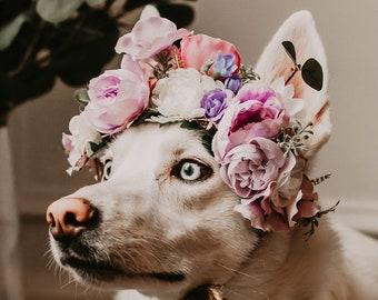 Flower Crown for Dog, Pet Wedding, Dog Floral Wreath, Dog Flower Crown, Dog Photo Shoot, Dog Wedding Flowers, Ring Bearer Puppy Dog