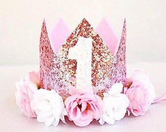 Rose Gold Crown, Rose Gold Birthday Girl Outfit, Girl First Birthday, Girl Floral Crown, Pink Cake Smash Crown, 1st Birthday, Rose Gold Baby