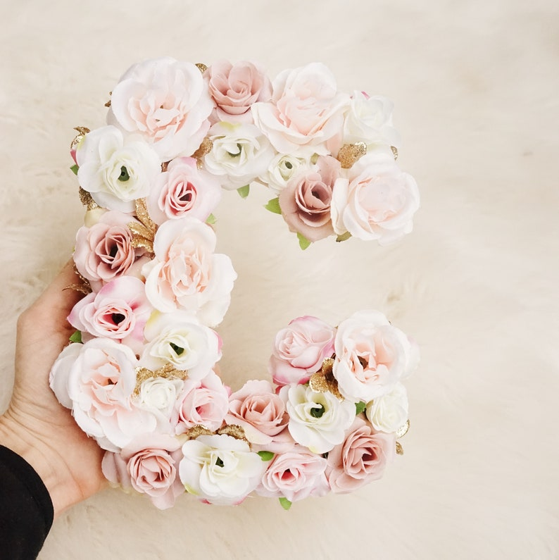 Flower Letter Rose Gold Birthday First Party Decor