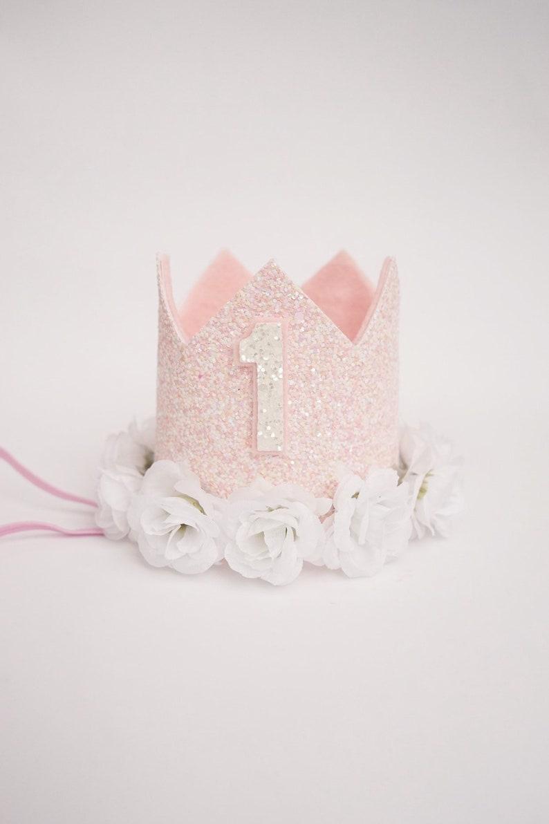 Marvelous Blush Pink Birthday Crown For Baby Girl Baby 1St Birthday Etsy Funny Birthday Cards Online Elaedamsfinfo