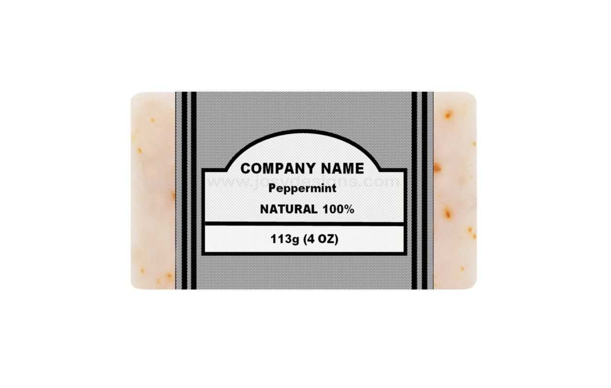 Peppermint Soap Label Template Text and Image Editable, Vertical Labels,  Instant PDF Download