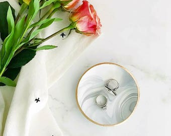 Jewelry Dish, Engagement Ring Dish , Gray Marble Jewelry Dish, Marble Jewelry Holder, Gift for Bride, Gift for Women, Bridesmaids Gift