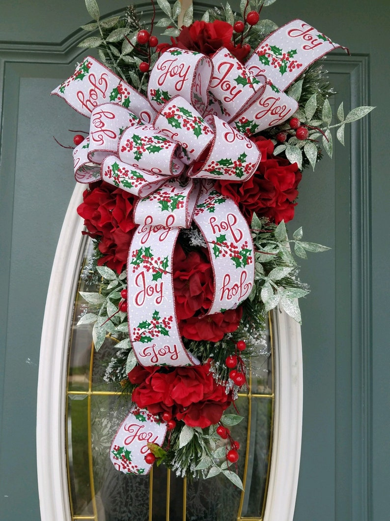 Christmas Swag Red Hydrangea Swag Front Door Wreath Red Etsy