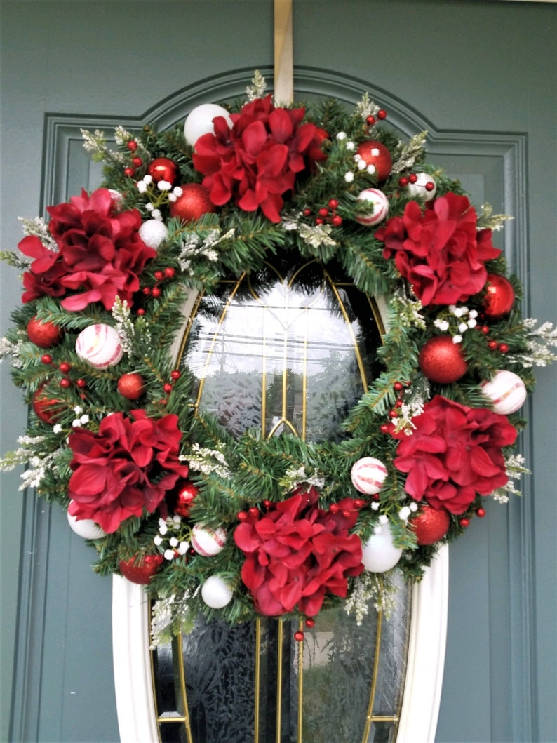 Christmas Wreath Red Hydrangea Wreath Front Door Wreath Etsy