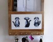 Alley Cats, mail holder, Key Ring Holder, cat, mailbox, key ring rack, key ring, mail organizer, key organizer, woodwork, custom tile. tile