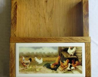 Mail Holder, Key Ring Holder, Roosters, chickens, farm animals, bill organizer, key ring rack, mail organizer, ceramic tile key ring hook