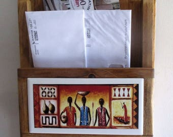 Mail Holder, African Pottery, pottery, mail organizer, key ring holder, key ring, mailbox, decorative tile, custom woodwork, wall hanging