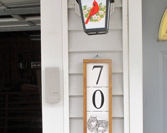 Wolf Address Plaque, wolf, wildlife, address tiles, address sign, address, ceramic tile address, custom tile, decorative address tile, tile