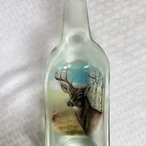 salsa dish serving dish slumped bottle recycled glass Moose ashtray spoon rest snack dish melted bottle kitchen decor moose