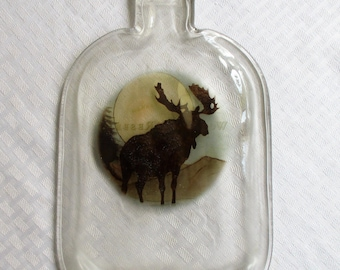 Moose, slumped bottle, melted bottle, lodge animal, moose, Woodford Reserve bottle, recycled glass, cheeseboard, spoon rest, slumped glass
