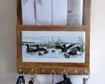 Mail Box Holder, Key Ring Holder, loons, mail organizer, key ring rack, mail, key ring, lake, cabin, decorative ceramic tile, brass hooks