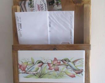 Hummingbirds, Mail Holder, Key Ring Organizer, hummingbird, mailbox, mail organizer, key ring holder, key ring rack, decorative tile