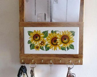 Sunflower Mail and Key Ring Holder, sunflower, mailbox, key ring, keys, mail organizer, key ring organizer, decorative tile, woodwork, brass