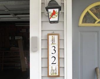 Merry Mooses Address Sign, moose, address plaque, address tile, tile numbers, decorative tile, custom framing, address numbers, ceramic tile
